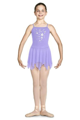 Bloch Girls Camisole Mesh Back Floral Bodice Skirted Leotard CL4911 Millicent